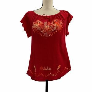 El Salvadore Red Embroider Short Sleeve Blouse XL